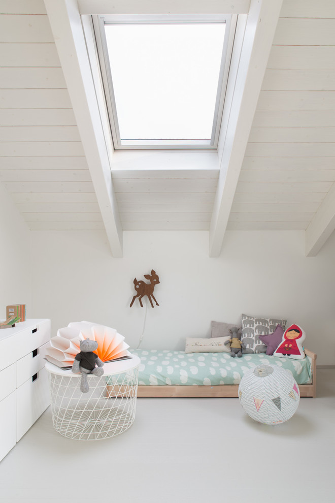 all white kids room with skylight wood platform dear wall decoration beautiful white side table with unique table lamp white console table