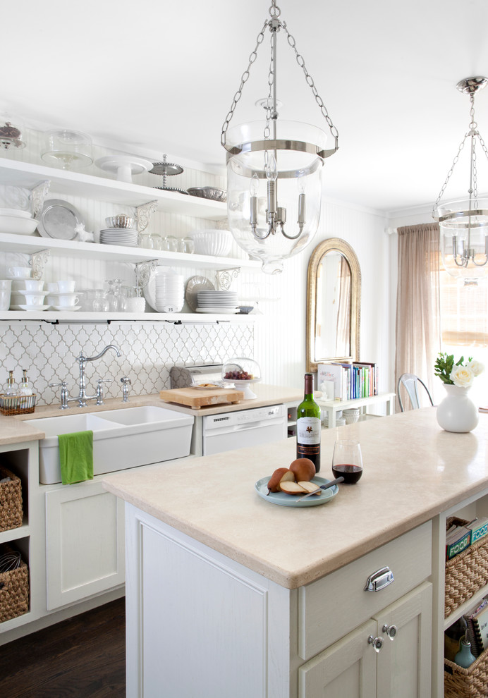 arabesque backsplash kitchen hardwood floor chandeliers long shelves plates faucet sink transitional room curtain
