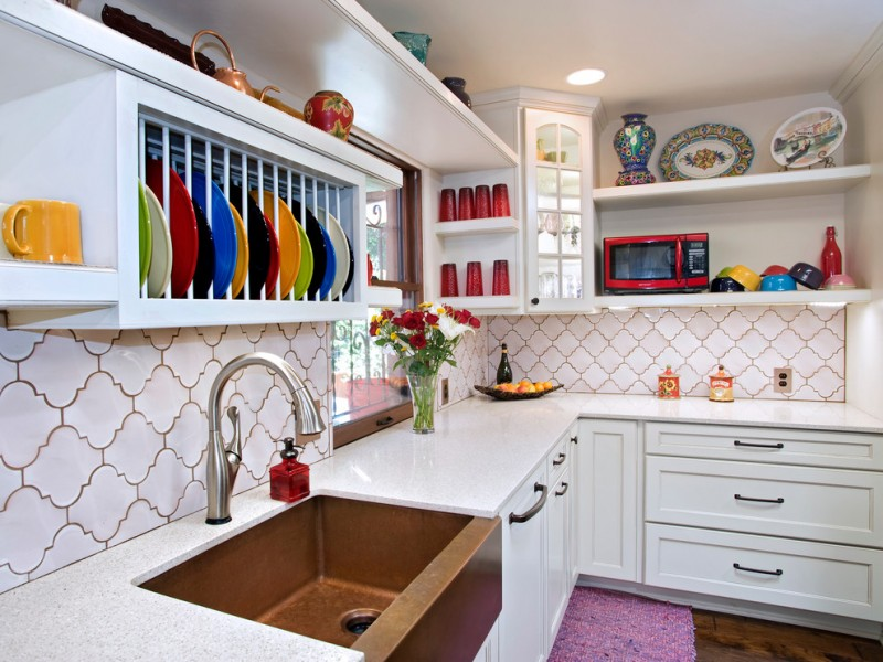 arabesque backsplash kitchen hardwood floor shelves corner cabinet faucet sink window eclectic room flowers