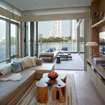 Bangkok Residence Four Season Porch Outdoor Indoor Porch Wooden Table Modern Design Soft Couch