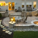 Beautiful Patio With One Dining Set, Bench, Lounge Chair With Ottoman, Lamps, Fire Pit
