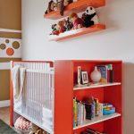 Bed With Bookshelf Against And Toyshelf Under In Gender Neutral Nursery