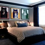 Bedding Sets For Teens Simple Blue Style For Boys Framed Jersey Blind Curtain Storage Bed Set