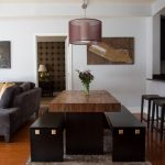 Bench Dining Room Table Carpet Wood Floor Pillows Dark Benches Pendant Contemporary Style Stools Lamp