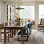Bench Dining Room Table Small Tables Benches Pillows Carpet Chandelier Rustic Style Big Window Chairs