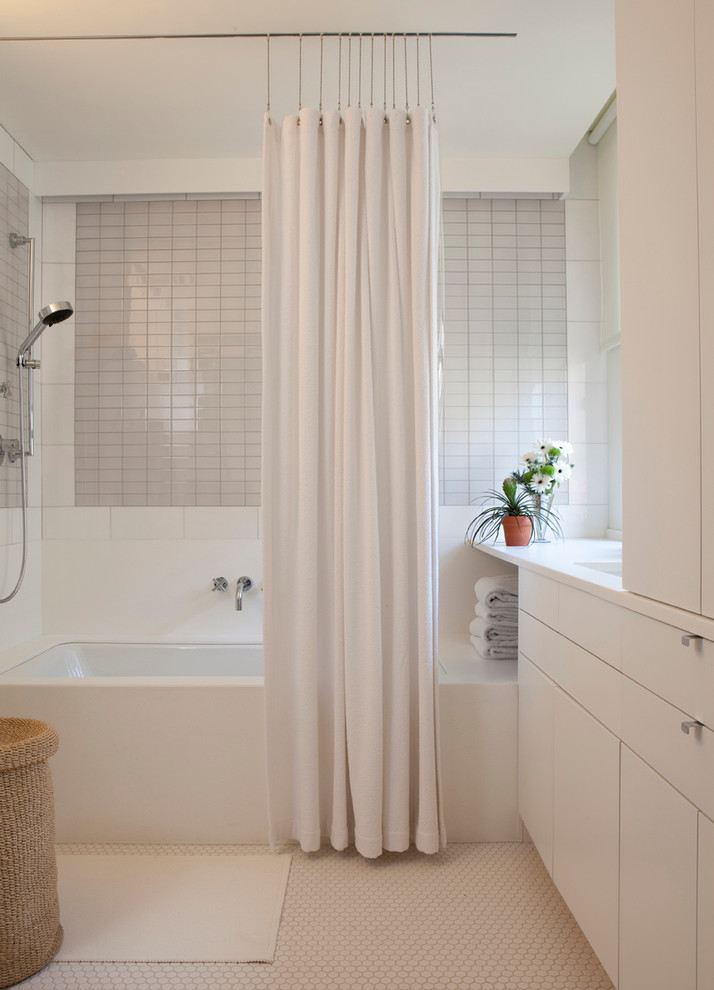 ceiling hung shower curtain bathtub flowers faucet basket white curtain storage item contemporary bathroom