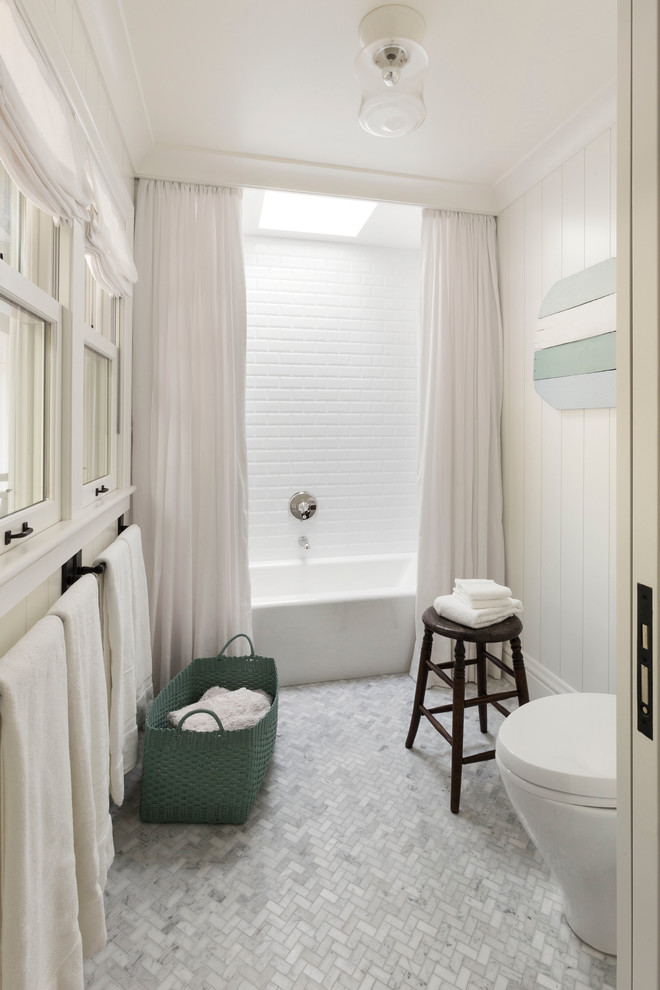 ceiling hung shower curtain bathtub window toilet towel rack farmhouse bathroom stool towels ceiling lamp