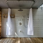 ceiling hung shower curtain metal wall ceiling wood floor industrial patio