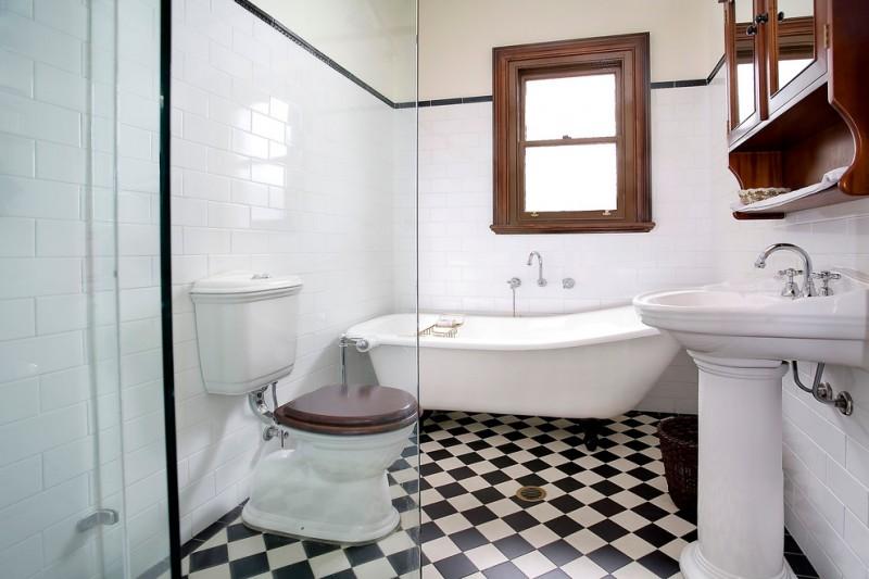 chessboard pattern bathroom tile glass door shower room wooden bathroom raise cabinet wooden framed window
