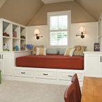 Children Bedroom Multifunctional Storage Toys Storage Attic Lamp White Wooden Storage Study Table Single Window