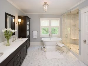 classic bathroom with beautiful white marble hex flooring