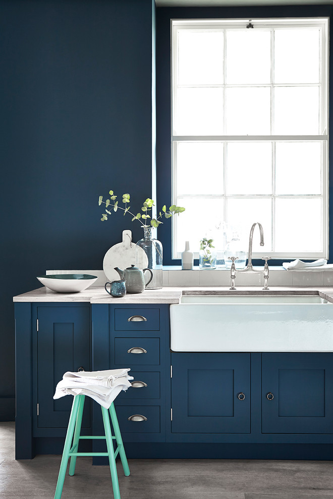 Clic White Porcelain Sink Navy Blue Cabinets Countertop Light Chair Wall Paint
