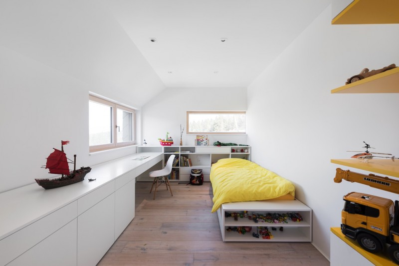clean white walls and ceiling painting idea with simple glass windows simple white bed frame with under shelves full length table in white white modern chair with wood base