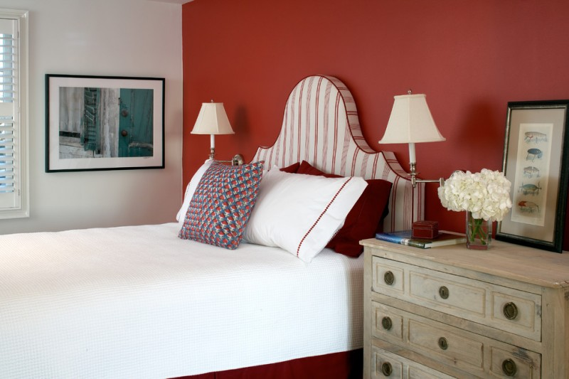 colour for walls in bedroom bed pillow drawers window red white beach style room book flowers lamps