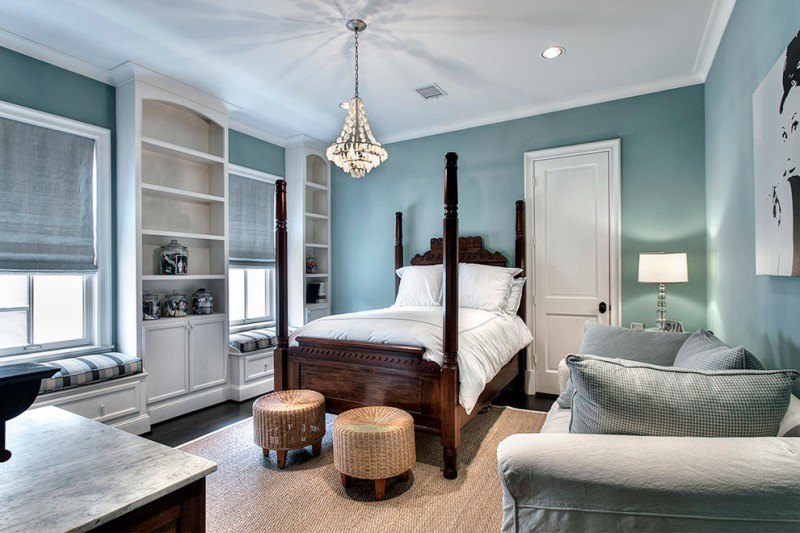 colour for walls in bedroom bed pillows sofa benches table lamp ceiling lights chandelier windows carpet shelves