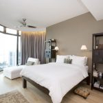 colour for walls in bedroom big window wood floor carpet basket shelves bed pillows curtain contemporary room