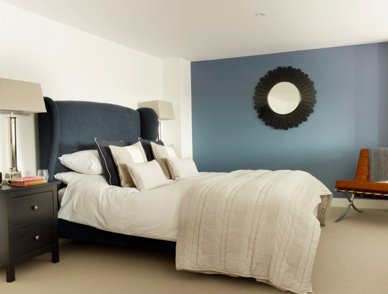 colour for walls in bedroom table drawers lamps mirror blue white walls bed pillows seating transitional room