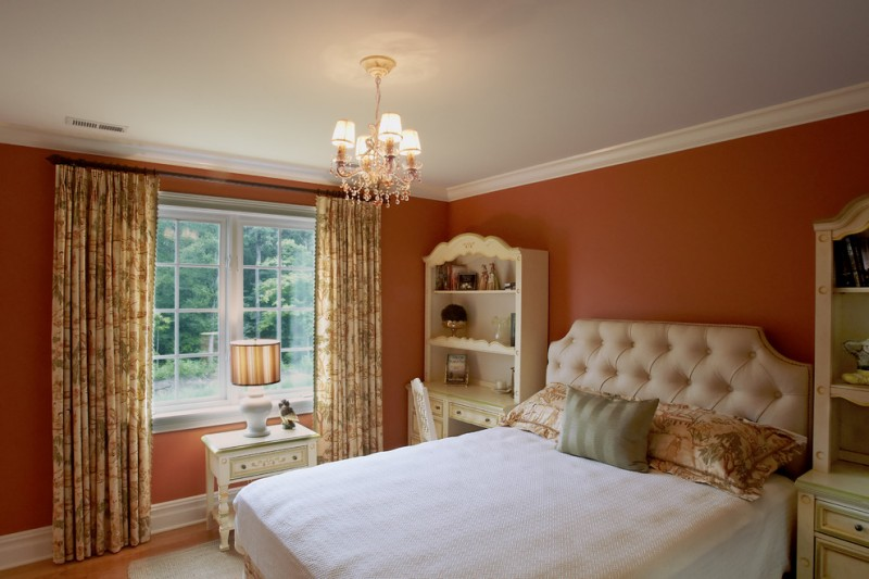 colour for walls in bedroom window table curtains drawers shelves bed pillows lamp chandelier traditional bedroom