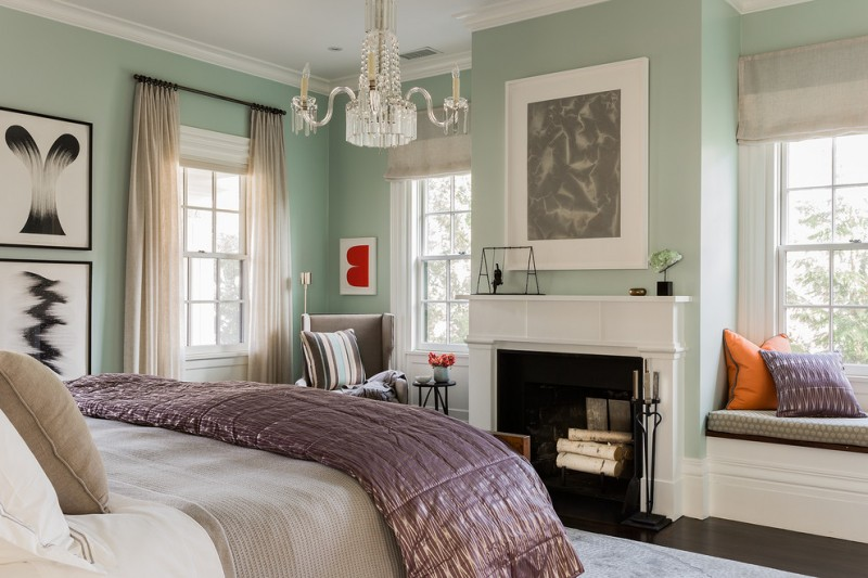 colour for walls in bedroom windows bench bed pillows paintings small table carpet chandelier transitional bedroom fireplace