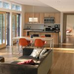 Combination Of Dining, Kitchen And Living Chairs Couch Chairs Table Wall Cabinets Modern Design