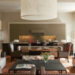 Combination Of Dining, Kitchen Chairs Tables Flowers Contemporary Room Chandelier Modern Look