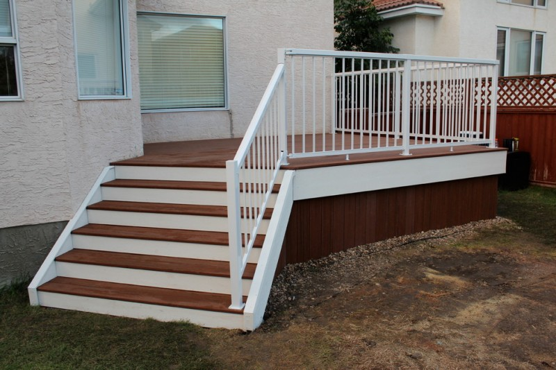 composite house skirting ida in dark wood finishing white deck railing idea composite deck floor and stairs