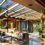 Conservatory Room With Glass Ceiling, Ceiling Fan, Sofa, Coffee Table, Glass Sliding Door