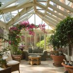 Conservatory With Bougenvilleas, A Set Of Table And Chairs, Table And Love Seat, Plants