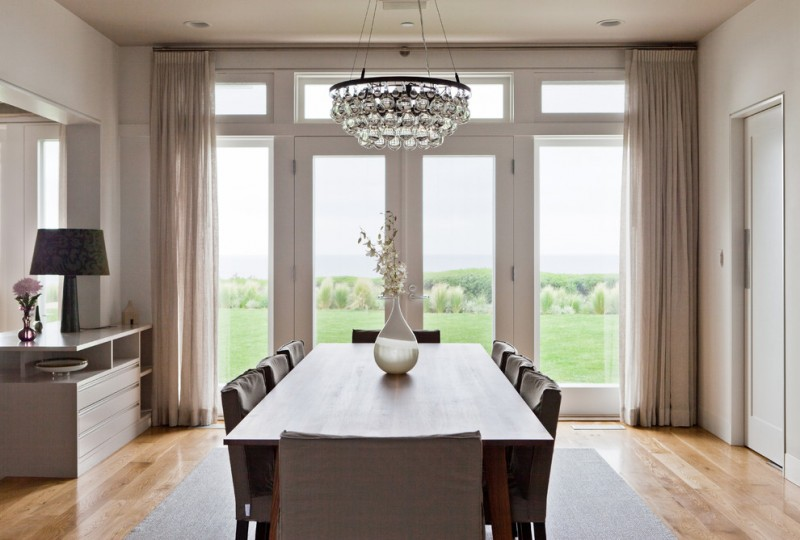 contemporary dining room arctic pear chandelier no sew chair cover unique flower vase screened door