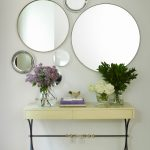 Contemporary Hall Mirrored Entryway Design Different Shape Of Mirrors Romantic Table Flower Pots Mini Storage