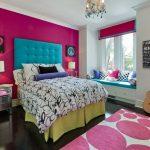 Cozy Window Seat Bedding Set For Teens Colourful Bedroom Pink Polkadot Rug Unique Design Blanket Custom Headboard
