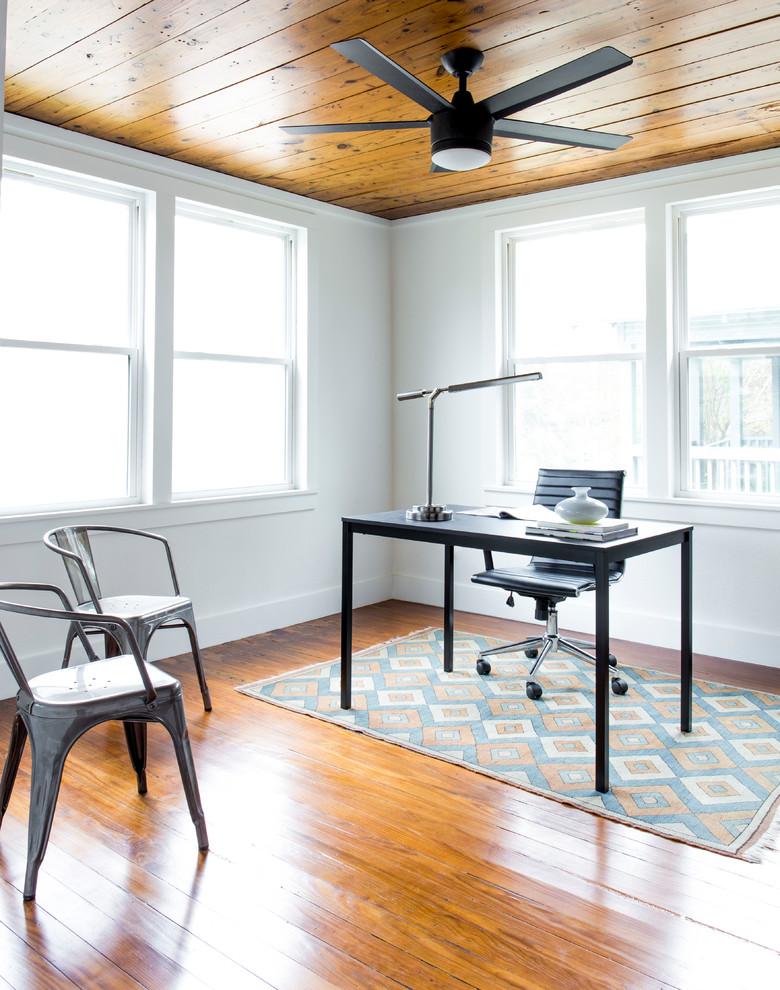 danish home office designs small study room white walls austin design medium tone hardwood floors freestanding desk