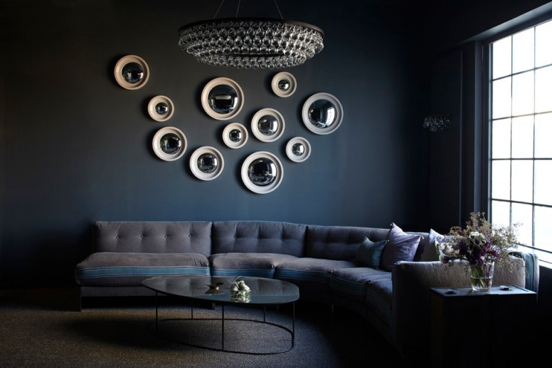 dark blue wall blue and gray ochre lighting arctic pear chandelier for family room flower vase plain carpet inoque wall decoration