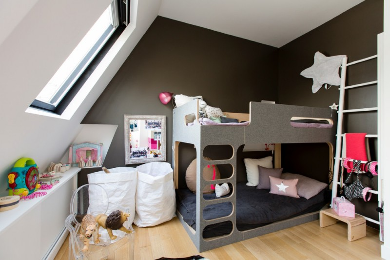 dark painted wall and white slanted wall painting idea grey bunk bed with ladder ladder shelves in white wood floors white bags storage clear acrylic chair full length console table in white