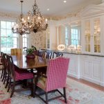 dining cabinet carpet wood floor windows cabinets chandeliers chairs table wall patterns mirror