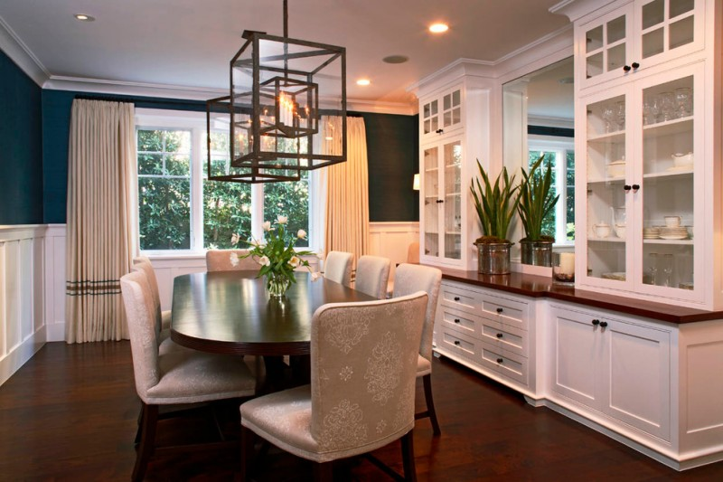 dining cabinet ceiling lamps white cabinets glass doors drawers windows chairs table traditional style room hanging lights
