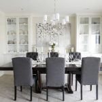 Dining Cabinet Chairs Table Photos Glass Doors Big Window Transitional Room Flowers Glasses Hanging Lamps Ceiling Lights