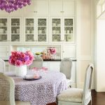 Dining Cabinet Purple Hanging Lights Flowers Chairs Table Cloth Wood Floor Cabinets Traditional Style Room