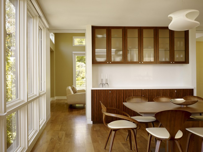 dining cabinet wood floor modern chairs table big windows