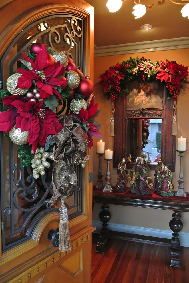 door entryway mirrored table fall mantel decoration christmas entryway decoration