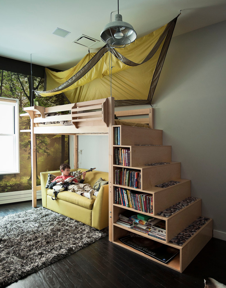 efficient space loft wood bed for kids with stairs and yellow seating area underneath fluffy grey rug black finished floors