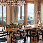 Elbow Chair Wishbone Chair Arctic Pear Chandelier Dining Room Mini Plants Decoration Minimalis Design