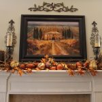 Fall Mantel Decorations Living Room Painting Frame Candle Holder Fireplace