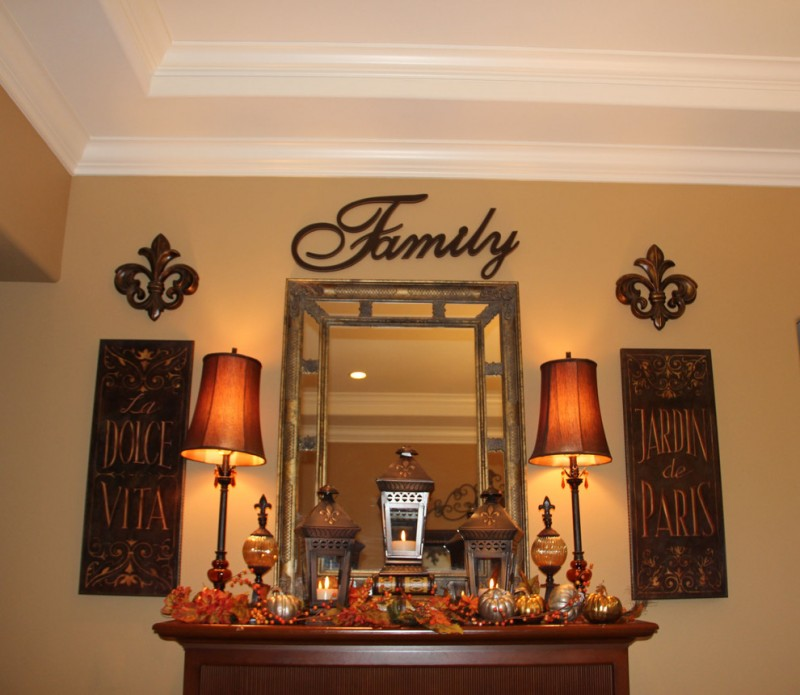 family fall mantel decoration family friendly delca antique lanterns wood mirror entryway
