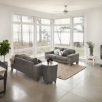 Family Room With Soft Grey Natural Finish Concrete Flooring