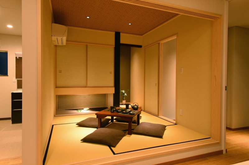 floor seating dining table tatami ceiling lamp air conditioner traditional style dining room