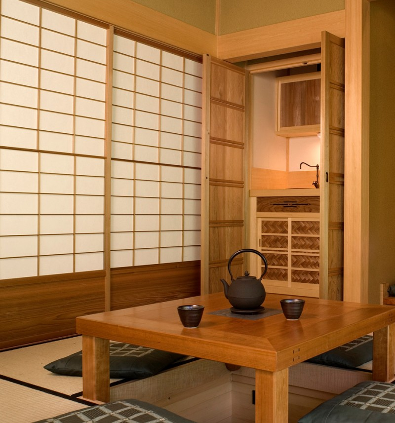 floor seating dining table tatami shoji door kettle doors storage wood cups