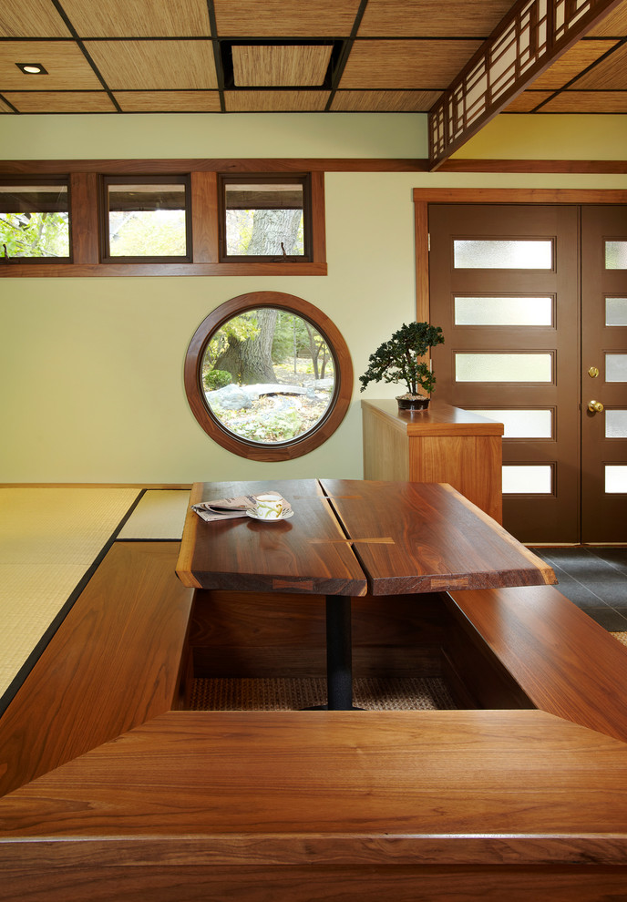 floor seating dining table windows door ceiling wood asian style dining room
