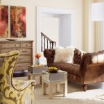 fluffy throw pillow for leather couch in eclectic living room