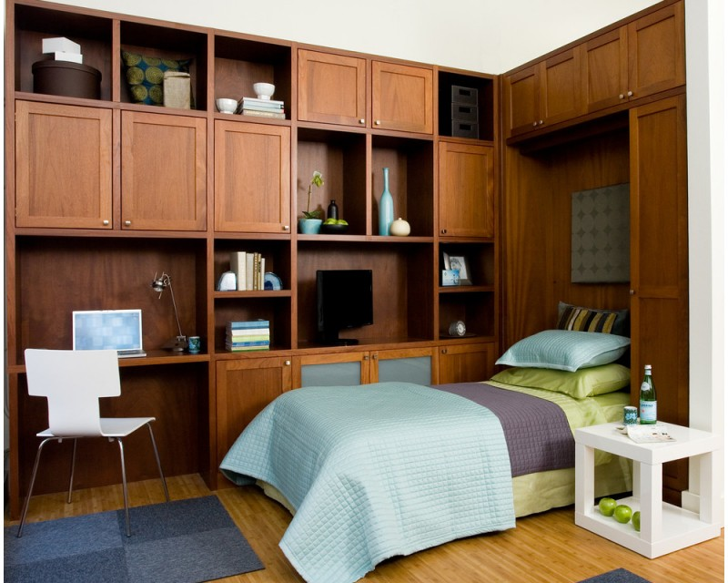 fold up wall bed and cabinets for dual purpose transitional room as office and bedroom